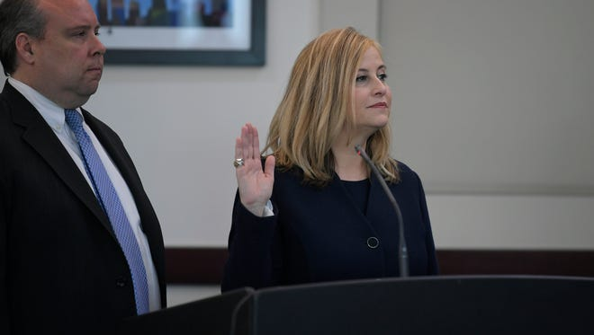 Mayor Megan Barry appears in court Tuesday, March 6, 2018, at the Justice A. A. Birch Building in Nashville.