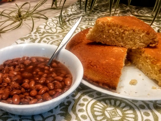 Pinto beans and homemade cornbread.