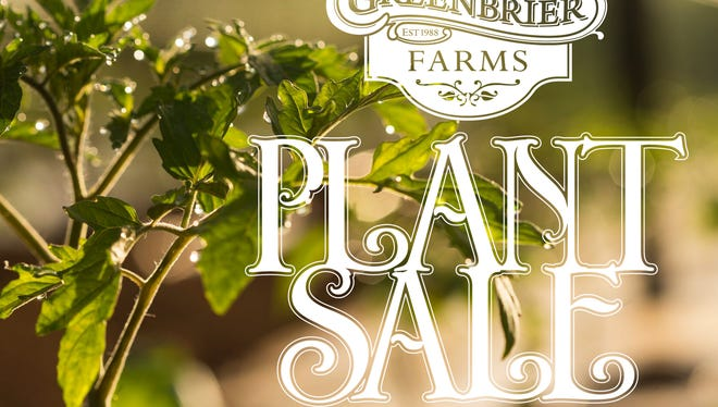 Greenbrier Farms will hold its annual plant sale, featuring all-organic plants, April 15.