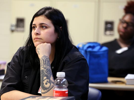 Clarissa Lopez, a cosmetology student at Del Mar College, learns how to recognize signs of domestic or emotional abuse in her clients provide them resources as part of the Nueces County District Attorney's Office Cut It Out program on Monday, Feb. 19, 2018.