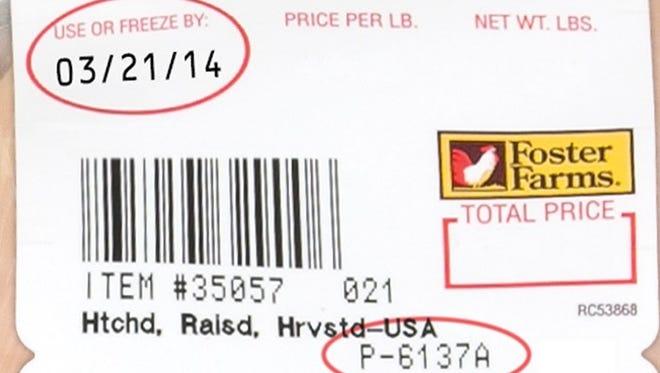Foster Farms chicken label