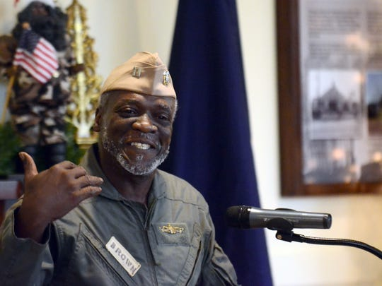 Lt. Timmy Brown speaks about Jesse Leroy Brown, the first black naval aviator, at the African American Military History Museum in Hattiesburg in this file photo taken Dec. 19, 2016. The museum is one of three museums that will within two blocks of each other on Sixth Street in Ward 2.