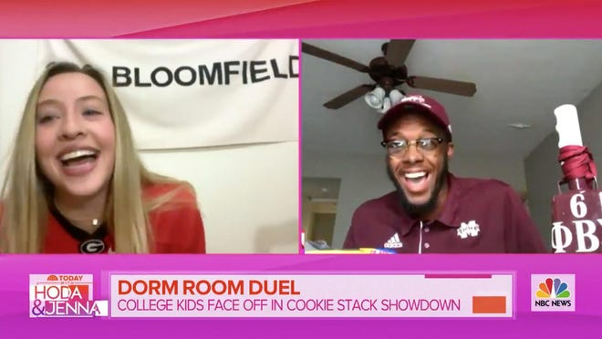 """(L-R) University of Georgia junior Anna Marian Block and Mississippi State University junior Joseph Rutherford competed in the Today Show's """"Dorm Room Duel"""" on Nov. 2, 2020."""