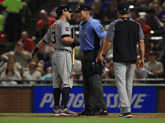 Ian Kinsler of the Detroit Tigers argues after being