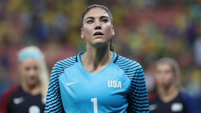 United States goalkeeper Hope Solo walks off the field during the first round match against Colombia in the Rio 2016 Summer Olympic Games.