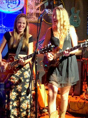 Heather Gillis, left, and Katie Skene team up to pay tribute to Eric Clapton at the Bradfordville Blues Club.