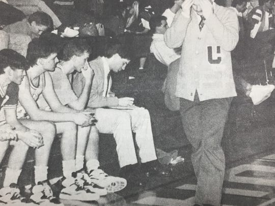 Braves coach Tris Kington paced the sidelines as Union County was eliminated from the Second Region Tournament in March 1990. The Braves fell to the Lions 65-62.