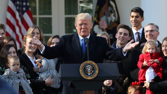 President Trump addresses March of Life participants from the White House Rose Garden Friday.