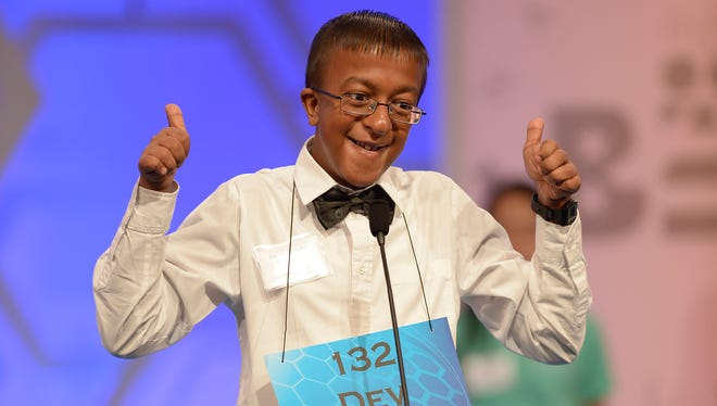 5/27/15 9:32:52 AM -- National Harbor, MD, U.S.A  -- Dev   Jaiswal of Louisville, Mississippi competes in the preliminary rounds of the 2015 Scripps National Spelling Bee at National Harbor, Md. --    Photo by David Baratz, USA TODAY Staff ORG XMIT:  DB 133171 2015 SPELLING BE 5/27/2015 (Via OlyDrop)
