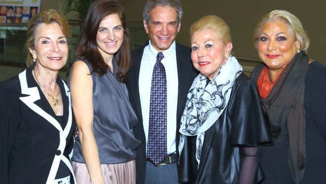 (left to right)  Women's Philanthropy Council Chair Sheri Borax;  speaker and head designer of Maskit Sharon Tal;  CEO of Jewish Federation of the Desert Bruce Landgarten, event co-chairs Frances Horwich, and Carol Horwich Luber.