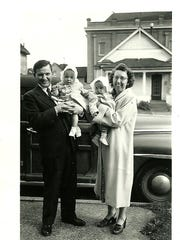 George Simonka and his wife, June, hold twin baby daughters Kathy and Betty in an undated photo.