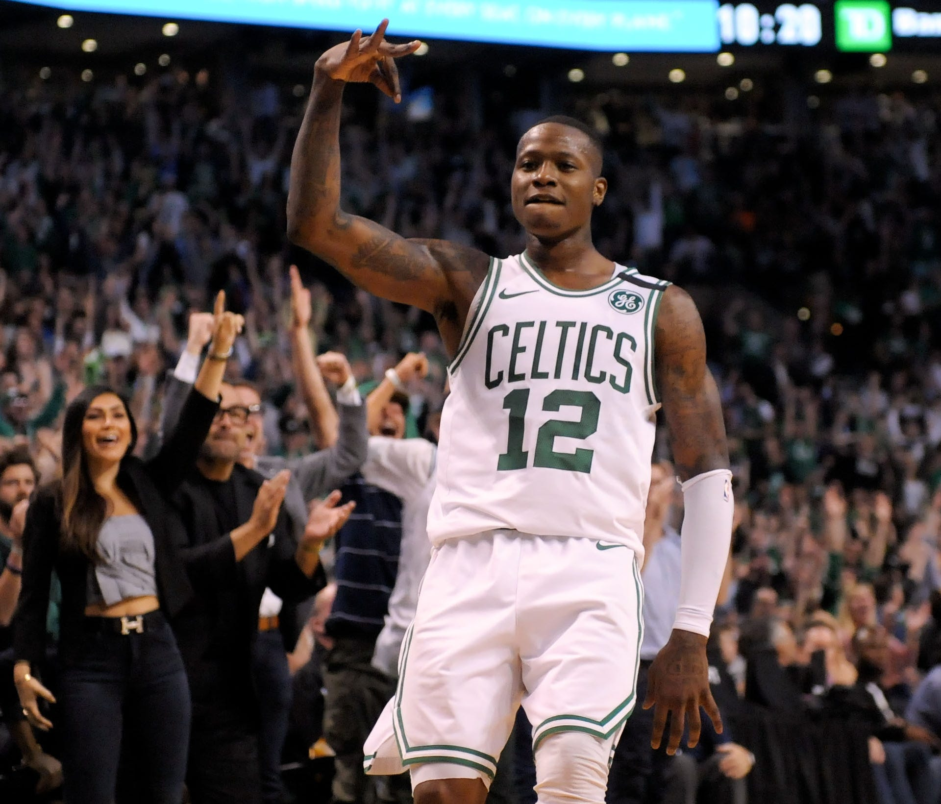 Boston Celtics guard Terry Rozier (12) reacts after scoring against the Cleveland Cavaliers during the third quarter in Game 2.