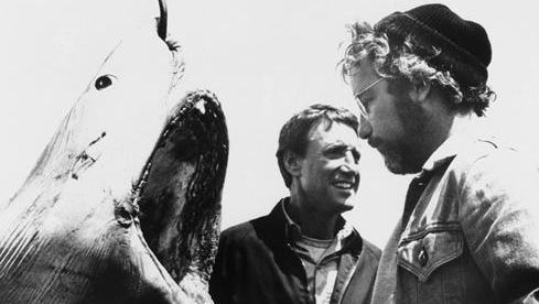 "Roy Scheider, left, and Richard Dreyfuss are shown in a scene from the movie ""Jaws"" in 1975."