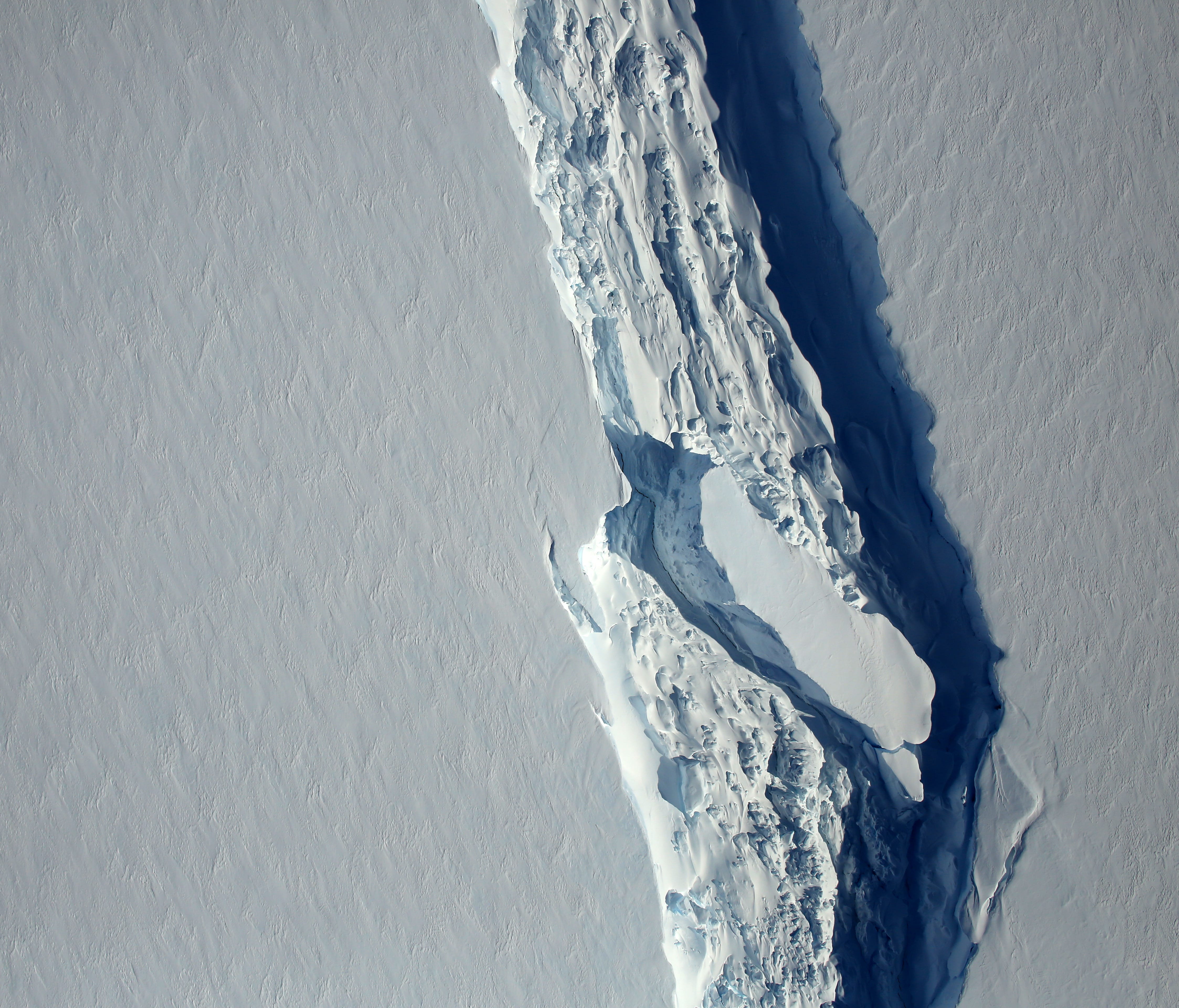 A close-up view of the crack, or rift, in Antarctica's Larsen C ice shelf, as seen on Nov. 10, 2016.