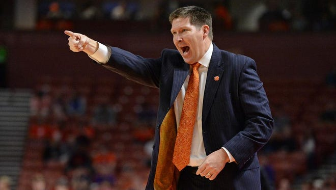 Clemson coach Brad Brownell coaches against Alabama Sunday, December 13,  2015 at Bon Secours Wellness Arena in downtown Greenville.