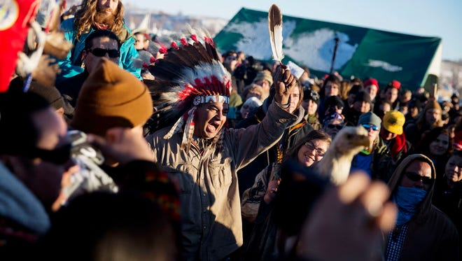 Protesters celebrate in Cannon Ball, N.D., on Dec. 4, 2016.