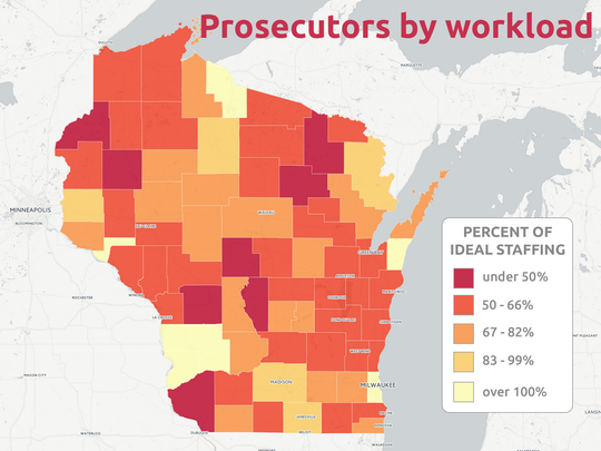 The percent of ideal prosecutor staffing across Wisconsin counties is shown here.