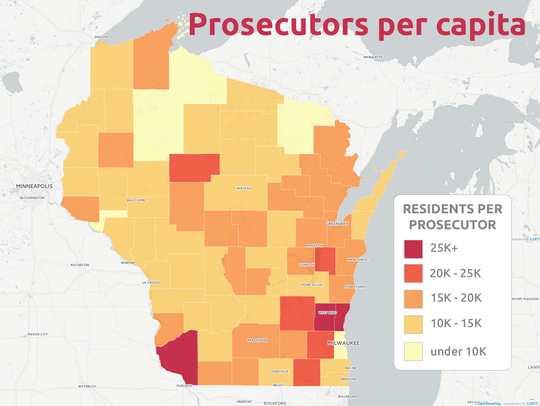 Residents per prosecutor range from more than 25,000