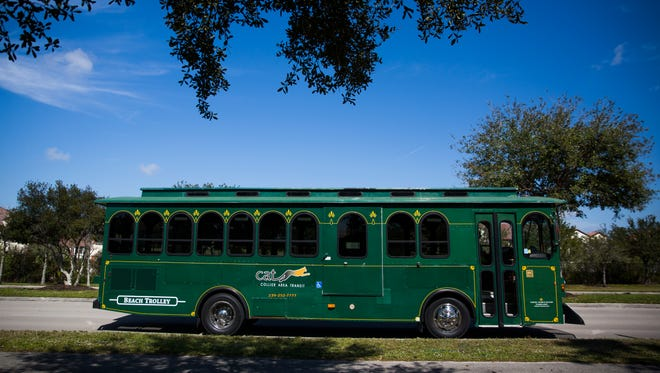 The beach trolley stops in North Collier Regional Park on Wednesday, Feb. 8, 2017, on the Vanderbilt and Gulf Shore Boulevard Beach Trolley. The shuttle system, which began on February 4, will run until June 2, 2017.
