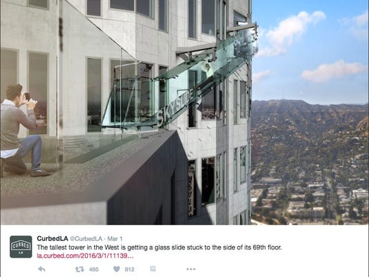 Us Bank Slide >> This Glass Slide 1 000 Feet Above La Will Make Your Palms Sweat