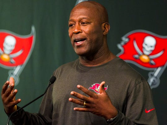 Tampa Bay Buccaneers head coach Lovie Smith speaks during a press conference at NFL football training camp, Thursday morning, July 24, 2014, in Tampa, Fla. (AP Photo/The Tampa Bay Times, Will Vragovic) TAMPA OUT; CITRUS COUNTY OUT; PORT CHARLOTTE OUT; BROOKSVILLE HERNANDO TODAY OUT