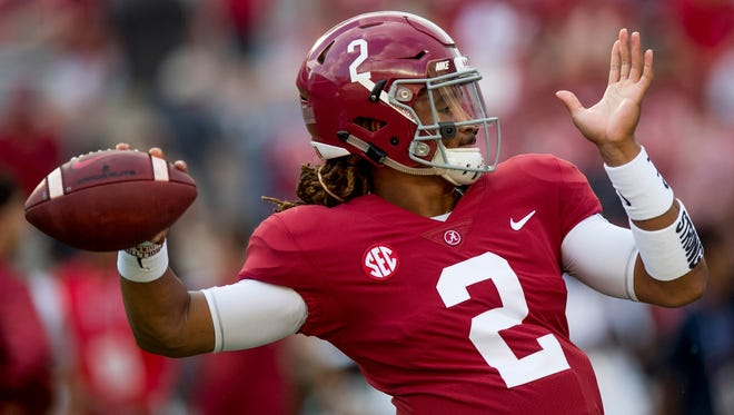 Alabama quarterback Jalen Hurts (2) warms up before the Colorado State game at Bryant-Denny Stadium in Tuscaloosa, Ala., on Saturday September 16, 2017.(Mickey Welsh / Montgomery Advertiser)