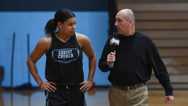 """Bob Castello walks with Christ Church's Lawren Cook during this week's edition of """"Open Court"""" with Bob Castello."""