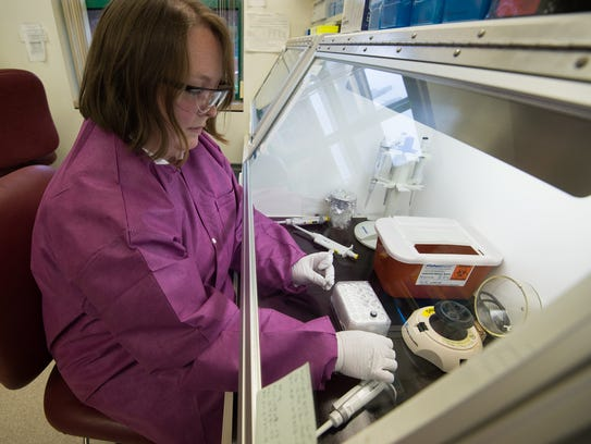 Microbiologist Ria Allman tests samples for the Zika