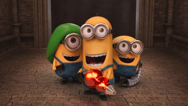 """Stuart, Kevin and Bob are the three Minions featured in the new animated movie """"Minions."""""""