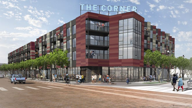 A rendering of The Corner, a mixed-use project planned at the corner of Michigan and Trumbull in Detroit.