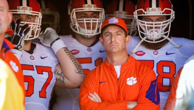 Clemson coach Dabo Swinney has the Tigers at 12-0 entering the ACC championship.