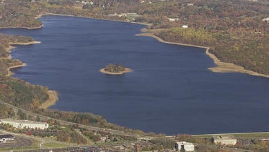 Aerial view of Jersey City Reservoir.