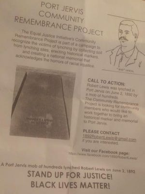 A flyer passed out at the BLM March in Port Jervis invited people to participate in the Equal Justice Initiative Community RemembranceProject.