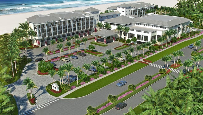 An aerial view rendering of Hutchinson Shores Resort & Spa in Jensen Beach. It opens this spring.