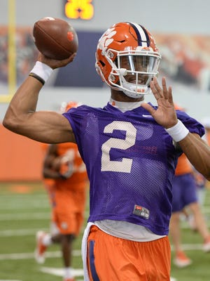 Clemson quarterback Kelly Bryant (2) throws a pass during the Tigers' opening day of spring practice on March 1.