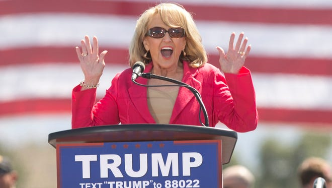 Former Arizona governor Jan Brewer speaks before Donald Trump at his rally in Fountain Hills, Ariz., on March 19, 2016.