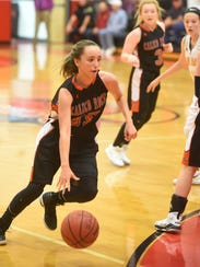 Calico Rock's Kaylee Pool drives to the basket during