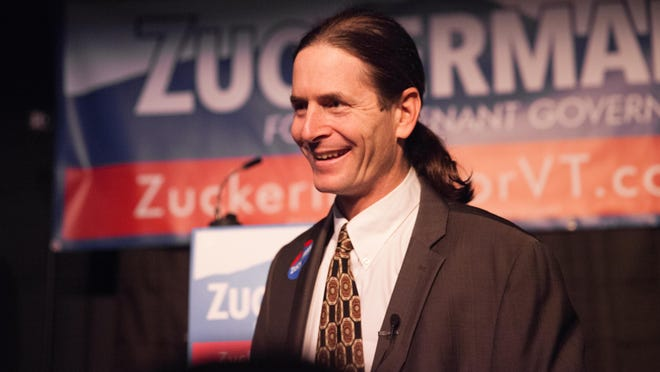 Sen. David Zuckerman, P/D-Chittenden, speaks with audience members at the Vermont Comedy Club in Burlington on Dec. 10, 2015, before announcing his candidacy for lieutenant governor.