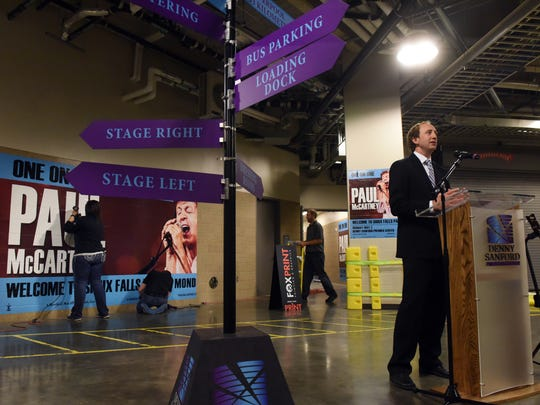 Chris Semrau, Assistant General Manager/Booking for the Denny Sanford Premier Center, talks about preparations for Paul McCartney's arrival during a press conference at the Denny Sanford Premier Center on Friday, April 29, 2016.