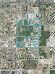 The proposed modifications to the site of the Coachella Valley Music and Arts Festival and Stagecoach Country Music Festival.