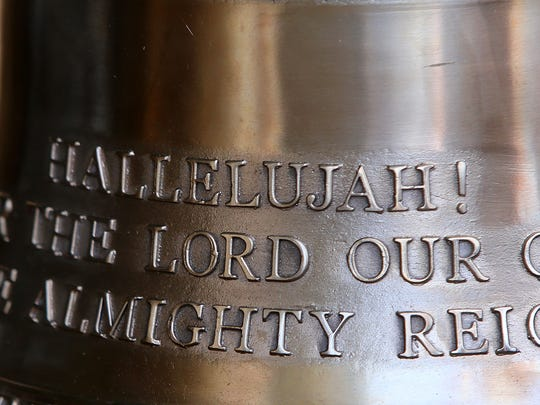 An inscription is seen on a carillon bell before its installation in Miller Tower on the campus of Union University on Tuesday, July 12, 2016.