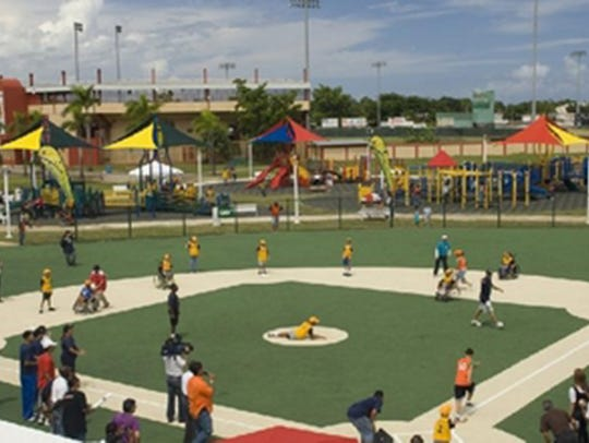 Baseball players in the Montgomery Miracle League will