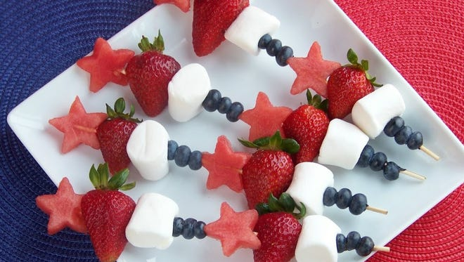 Red-White-and-Blue Skewers with Dandies Vegan Marshmallows;