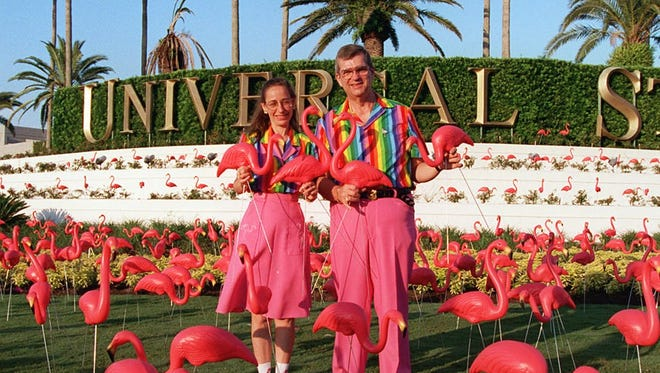 Donald Featherstone and his wife, Nancy, commemorate the 40th anniversary of his famous creation, the plastic pink flamingo, with the world's largest flamingo flock at Universal Studios Florida. The pair, who have dressed alike for 21 years, were honored for their wacky, tacky contribution to the Sunshine State's image during Universal's King Gator's Fundango in 1997. Featherstone passed away Monday.