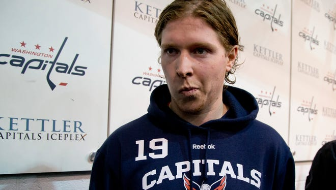 Nicklas Backstrom after a news conference in Arlington, Va. upon his return to the Capitals from Olympic duty.