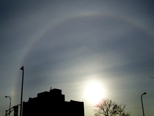 A solar optical effect called a circular halo was visible