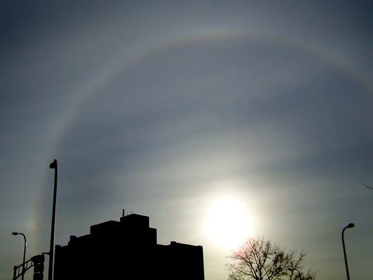 A solar optical effect called a circular halo was visible on Monday morning over La Crosse. The halo occurs when light passes through high clouds that contain ice.