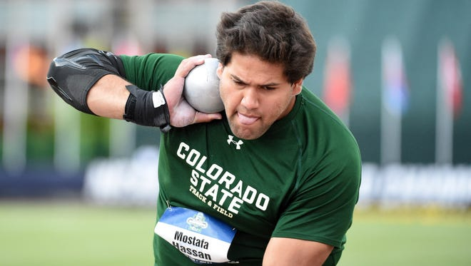 CSU's Mostafa Hassan placed third in the shot put at 66-3 during the 2016 NCAA track and field championships at Hayward Field.