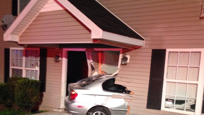 A car hit an apartment at 1455 Chariot Drive early this morning.
