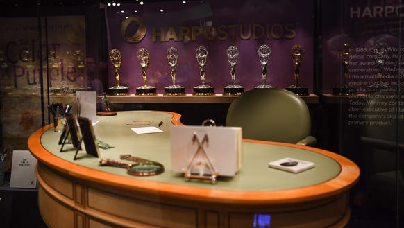 Oprah Winfrey's desk from Harpo Studios in front of